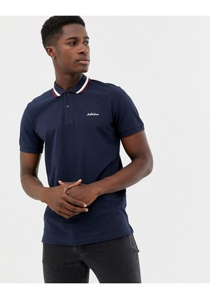Jack & Jones Originals polo with logo and tipped collar in navy - Total eclipse