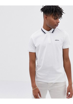 Jack & Jones Originals polo with logo and tipped collar in white - Optical white