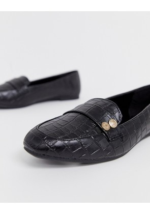 New Look coin detail loafers in black - Black