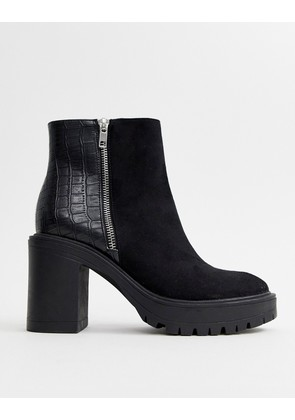 New Look mixed material chunky heeled boot in black - Black