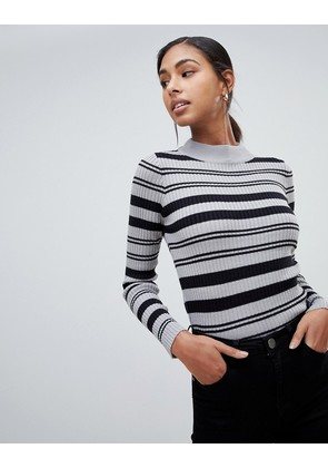 Brave Soul knitted jumper with funnel collar - Crustal grey w black