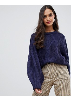 Brave Soul macrame chunky cable knit jumper with wide sleeves - Navy
