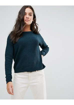 Brave Soul Erin Loose Fit Jumper In Chenille - Forest green