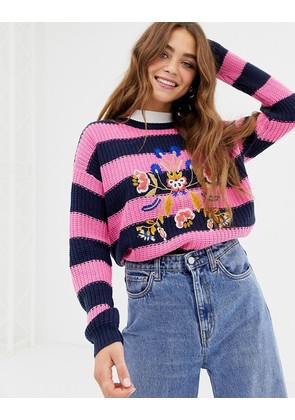 Brave Soul bouquet stripe jumper with embroidery - Pink/navy