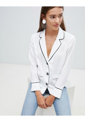 New Look Pocket Piped Pj Shirt - White