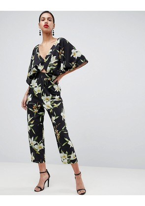 ASOS Jumpsuit with Kimono Sleeve in Lily Print - Black multi