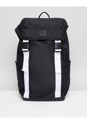 ASOS DESIGN backpack in black with white double straps - Black