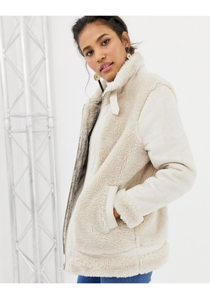 ASOS DESIGN aviator jacket with faux fur outer - White