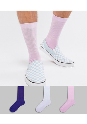 ASOS DESIGN sports style socks in lilacs 3 pack - Purple