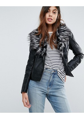 Brave Soul Betina Leather Look Jacket With Deep Faux Fur Collar - Black