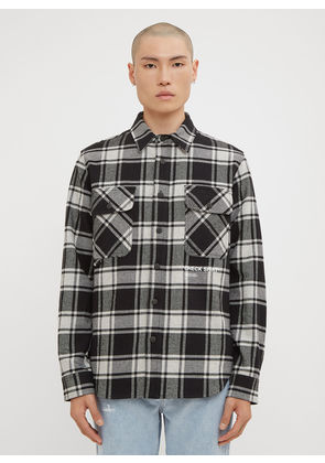 Off-White Check Print Flannel Overshirt in Grey size S