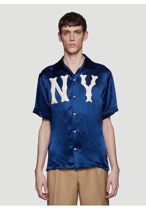 Gucci NY Patch Bowling Shirt in Navy size IT - 48