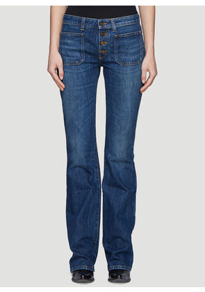 Saint Laurent Front Pockets Flared Jeans in Blue size 25
