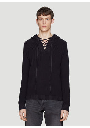 Saint laurent Hooded Ribbed Lace-Up Knit Sweater in Black size S
