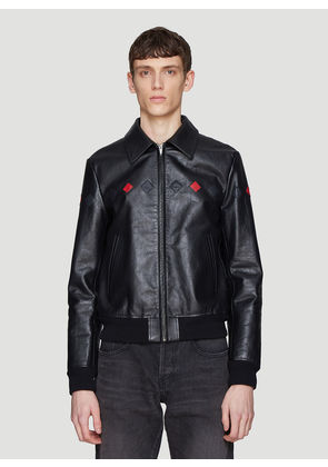 Saint laurent Triangle Patch Leather Jacket in Black size IT - 48