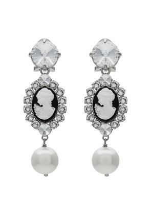 Miu Miu metallic cameo crystal faux pearl earrings - White