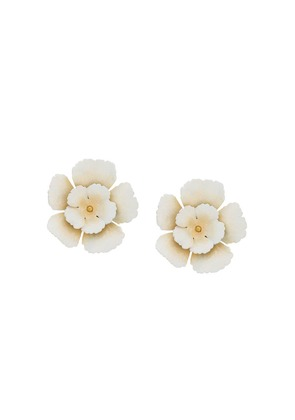Jennifer Behr flower earrings - Neutrals