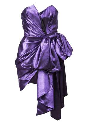 Alexandre Vauthier metallic bow mini dress - Purple