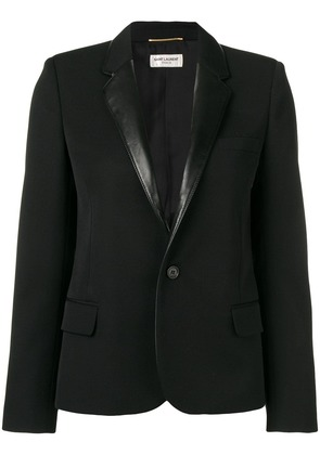 Saint Laurent contrasting collar blazer - Black