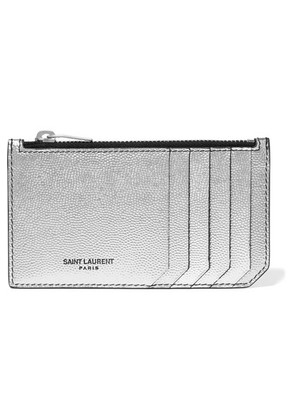 Saint Laurent - Metallic Textured-leather Cardholder - Silver