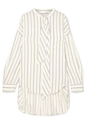 Balenciaga - Pussy-bow Printed Striped Silk-piqué Shirt - White