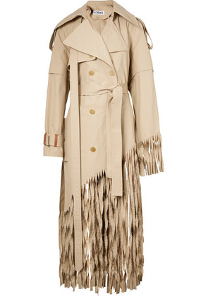 Loewe - Distressed Fringed Cotton Trench Coat - Beige