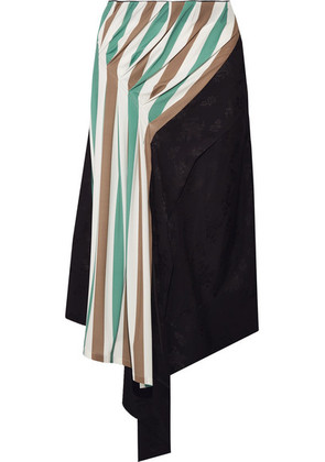 Loewe - Asymmetric Satin-jacquard And Striped Stretch-jersey Midi Skirt - Gray green