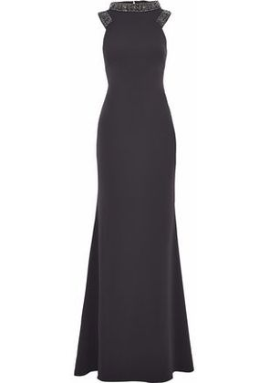 Badgley Mischka Woman Embellished Crepe Gown Charcoal Size 2