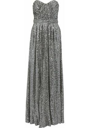 Badgley Mischka Woman Strapless Gathered Sequined Mesh Gown Gray Size 12