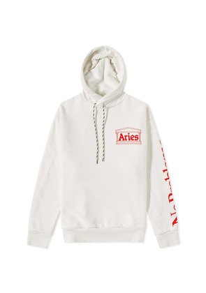 Aries Double Thickness Hoody White & Red
