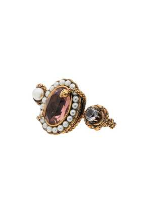 Alexander McQueen snake jewelled dual ring - Gold