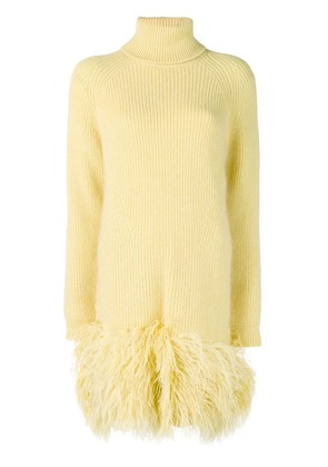 No21 loose fitted feather dress - Yellow