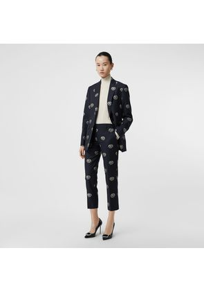 Burberry Crest Detail Wool Cropped Tailored Trousers, Blue