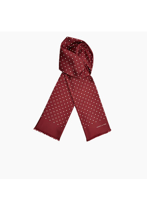 Burgundy and White Spotted Silk Scarf