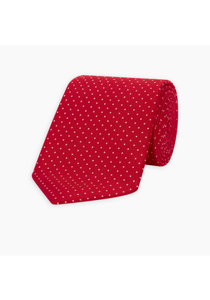 Red and White Small Spot Silk Tie