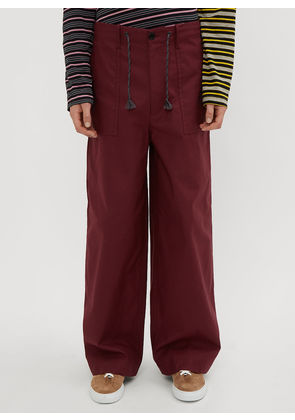 Marni Flared Twill Pants in Burgundy size EU - 50