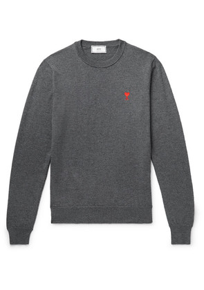 AMI - Logo-embroidered Wool Sweater - Gray