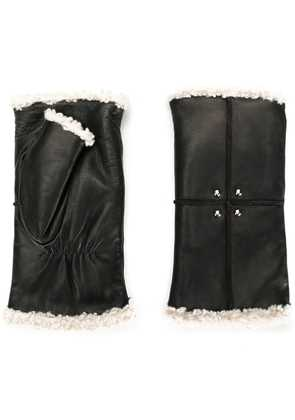 Agnelle fur lined hand warmers - Black