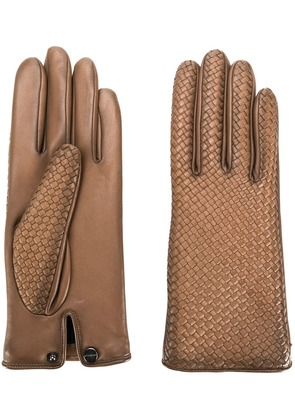 Agnelle woven effect gloves - Brown
