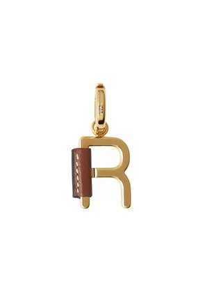Burberry leather-wrapped 'R' alphabet charm - Gold