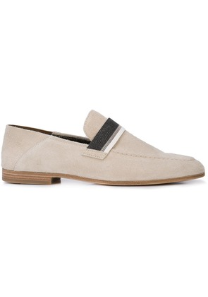 Brunello Cucinelli metallic strap loafers - Neutrals