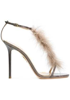 Charlotte Olympia feather embellished sandals - Grey