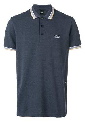 Boss Hugo Boss logo embroidered polo shirt - Blue