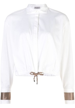 Brunello Cucinelli drawstring hem shirt - White