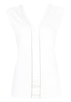 Brunello Cucinelli eyelet trim top - White