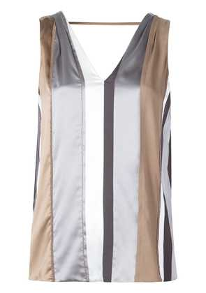 Brunello Cucinelli striped sleeveless top - Brown