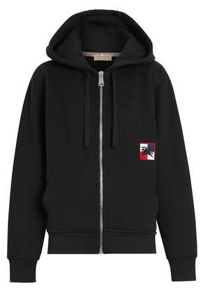Burberry Chequer EKD Cotton Jersey Hooded Top - Black