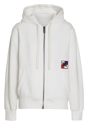 Burberry Chequer EKD Cotton Jersey Hooded Top - White