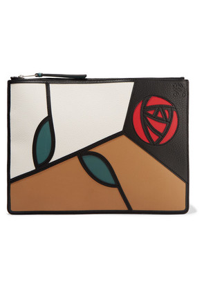 Loewe - Roses Patchwork Leather Pouch - Brown