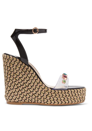 Sophia Webster - Dina Embellished Pvc And Patent-leather Espadrille Wedge Sandals - Black